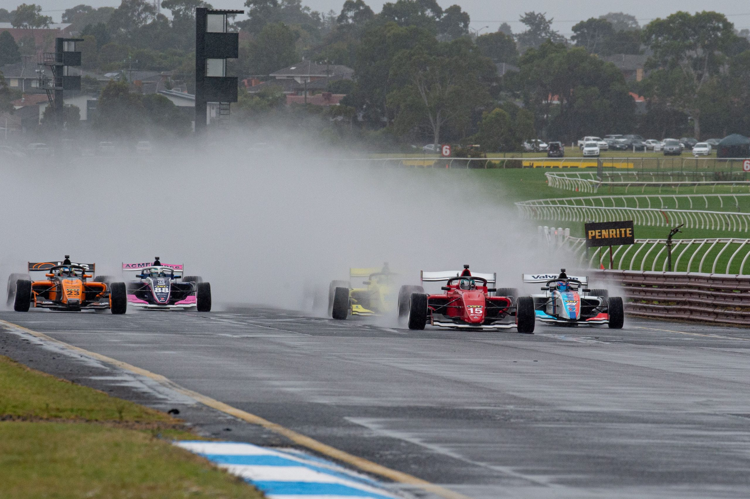 Very wet conditions for Heat 2 at Sandown